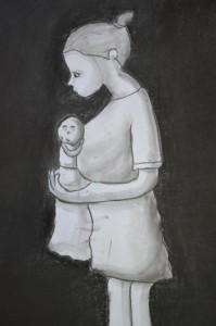 Maternidad africana.- Carbón prensado y lápiz compuesto